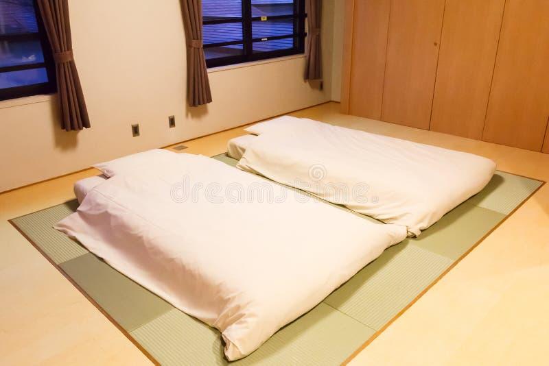 Mattress on Tatami mat. Two mattress on Tatami mat.Japanese style stock image
