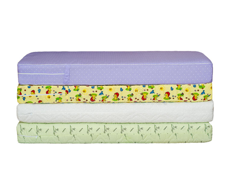 The mattresses on the bed stock image