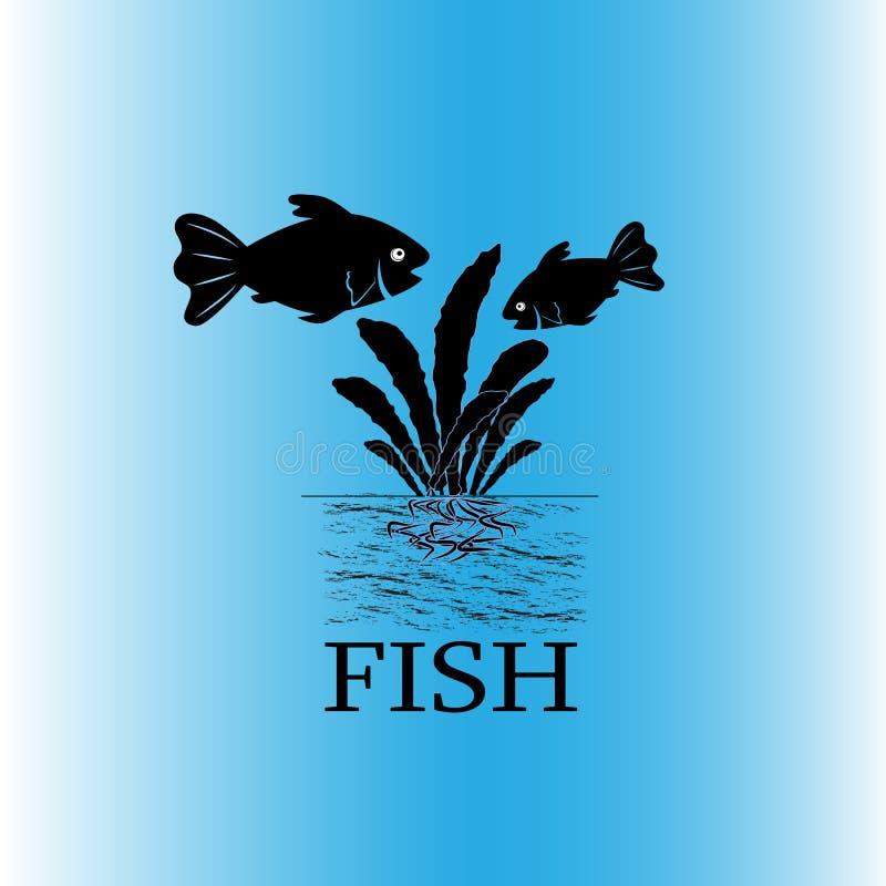 Mattschwarzer Schattenbildvektor der Aquariumfische, zwei Fische und Anlage mit Wurzel im Boden lizenzfreie abbildung