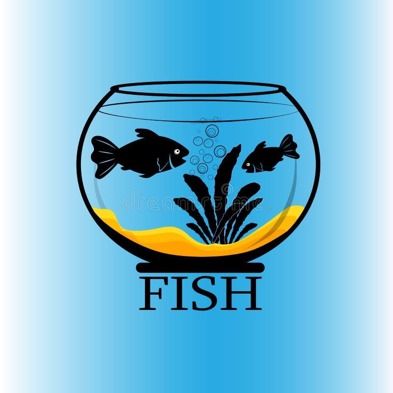 Mattschwarzes Schattenbild der Aquariumfische, zwei Fische und Anlage mit Wurzel im Boden, lokalisiert auf blauem Steigungshinter vektor abbildung