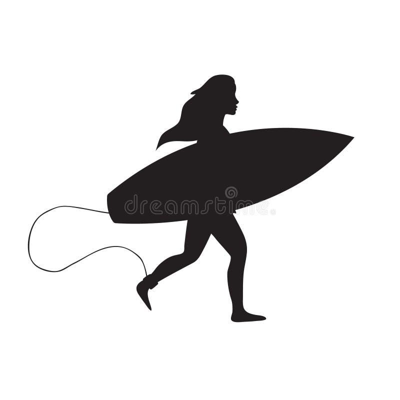 Mattschwarzes Schattenbild des Vektors des M?dchenfrauenbetriebs mit Brandungsbrett auf wei?em Hintergrund stock abbildung