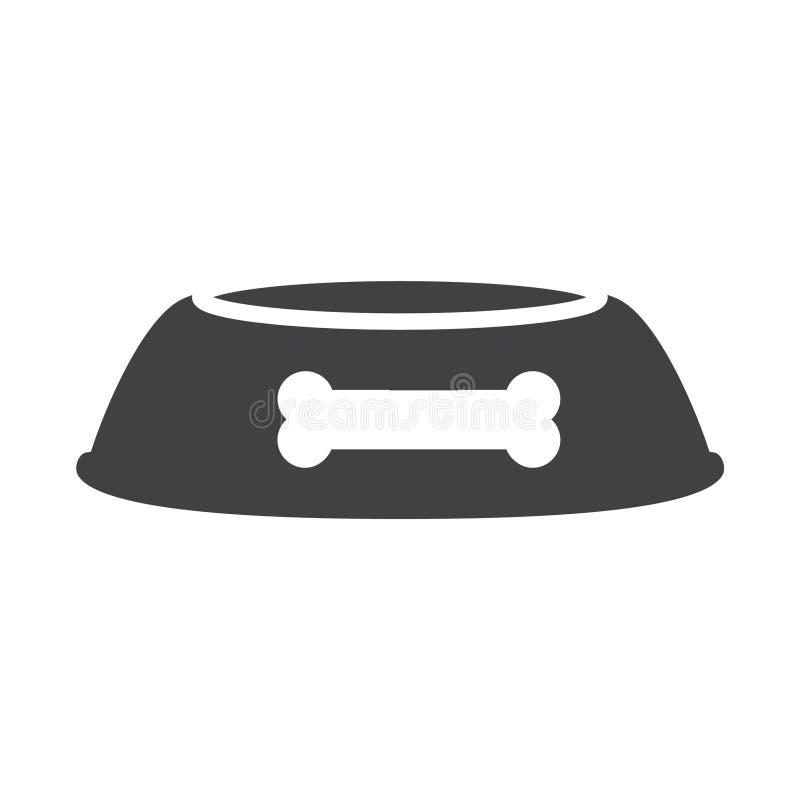Mattschwarzhundeschüsselikone lizenzfreie abbildung