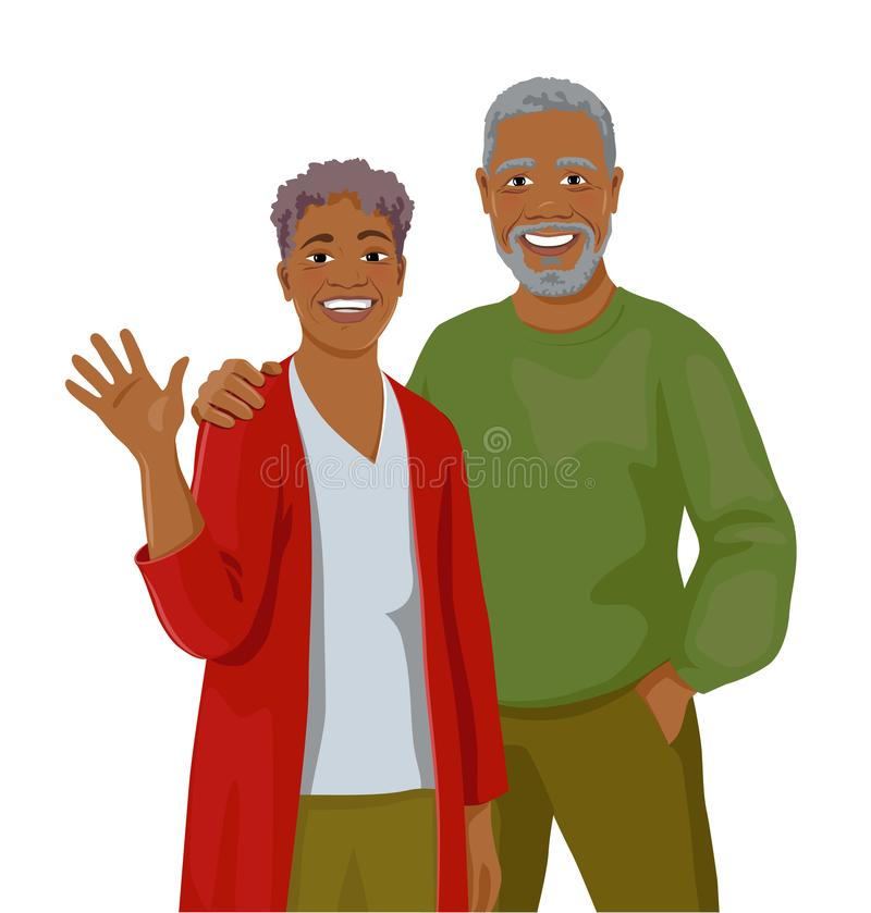 Mature African couple stock illustration