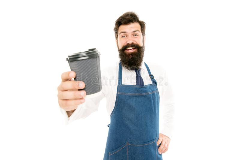 Mature barista in apron isolated on white. Robusta arabica blend. Inspired with cup of fresh coffee. Bearded man hold royalty free stock photos