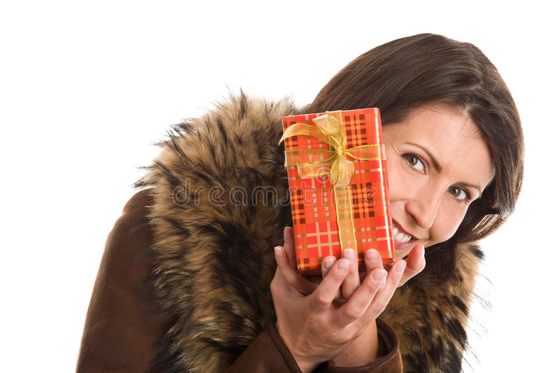 Mature beautiful woman holding gift royalty free stock photo