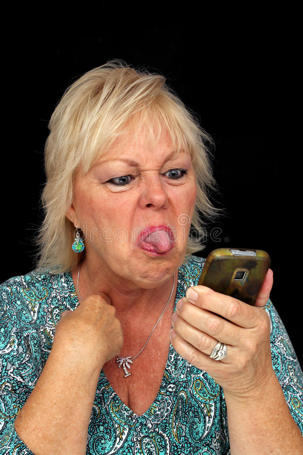 Mature Blonde Woman with Cell Phone (9) stock photography