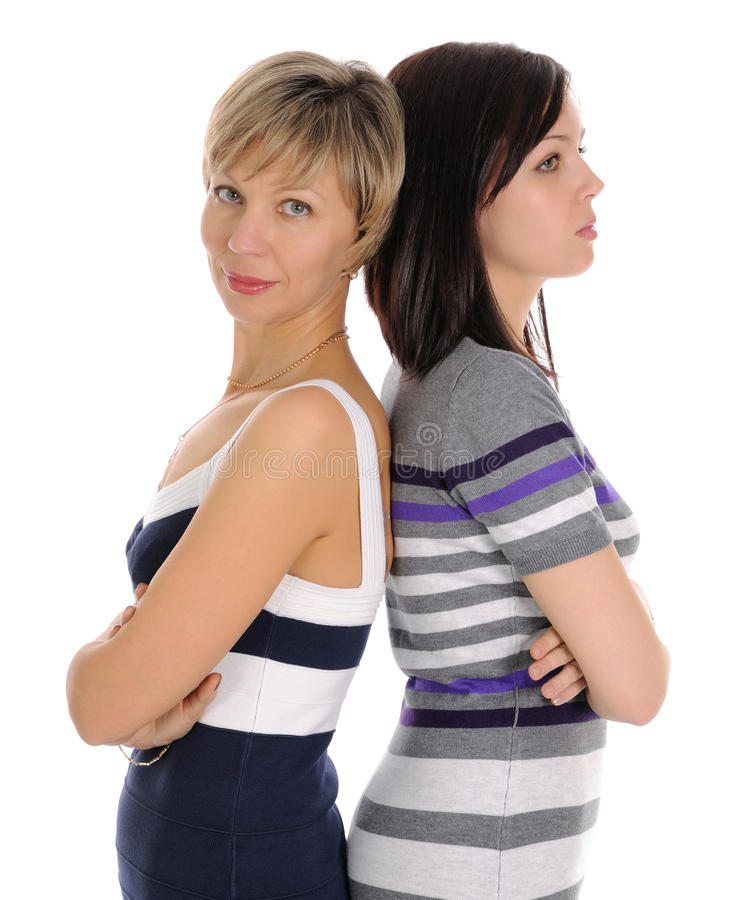 The mature blonde and young brunette. stock photography