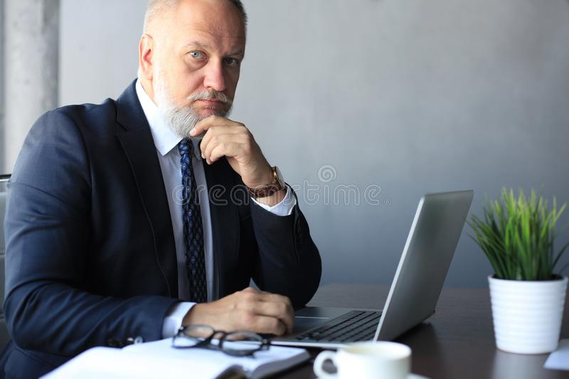 Mature business man holding hand on chin and looking thoughtful while sitting in office and working on his laptop. royalty free stock photography