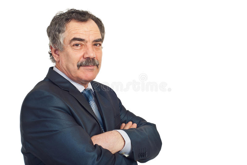 Mature business man with soft smile stock image