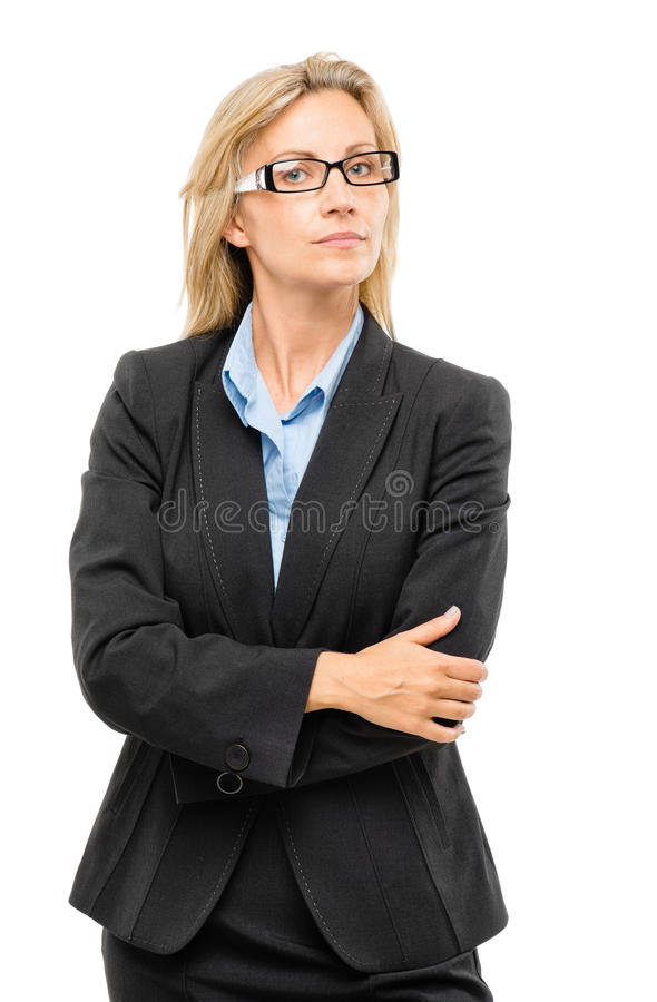 Mature business woman confident arms folded. Mature confident business woman arms folded royalty free stock photography