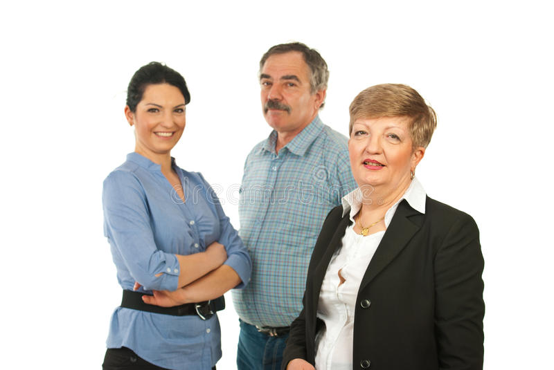 Mature business woman and her team royalty free stock images