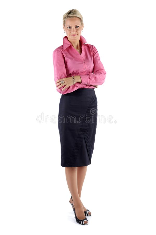 Mature Business woman isolated on white background stock image