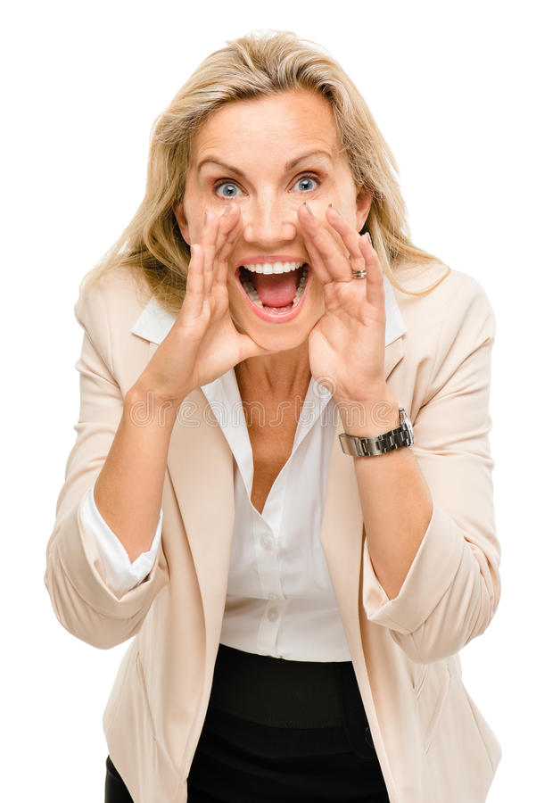 Mature business woman shouting isolated on white background. Mature happy business woman shouting stock photos