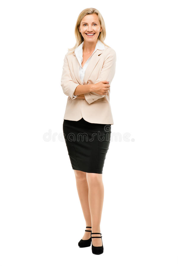 Mature business woman smiling full length portrait isolated on w stock photography