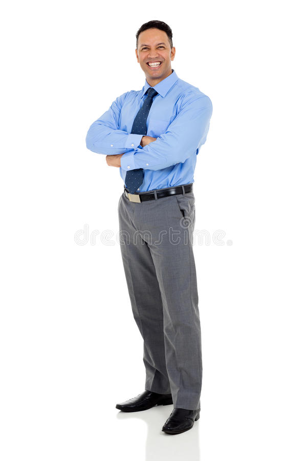 Mature businessman arms folded royalty free stock images