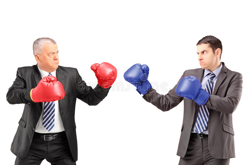 Mature businessman with boxing gloves ready to fight his coworker royalty free stock images
