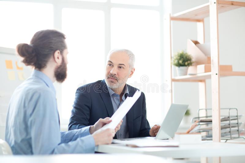 Planning work at meeting stock photo