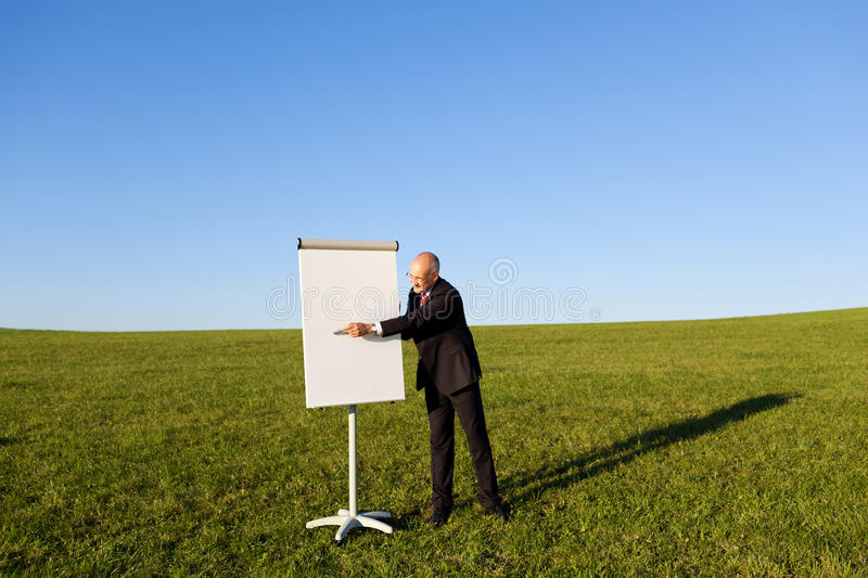 Mature Businessman Pointing At Flipchart On Grassy Field. Mature businessman with pointing at flipchart on grassy field against clear sky royalty free stock photography