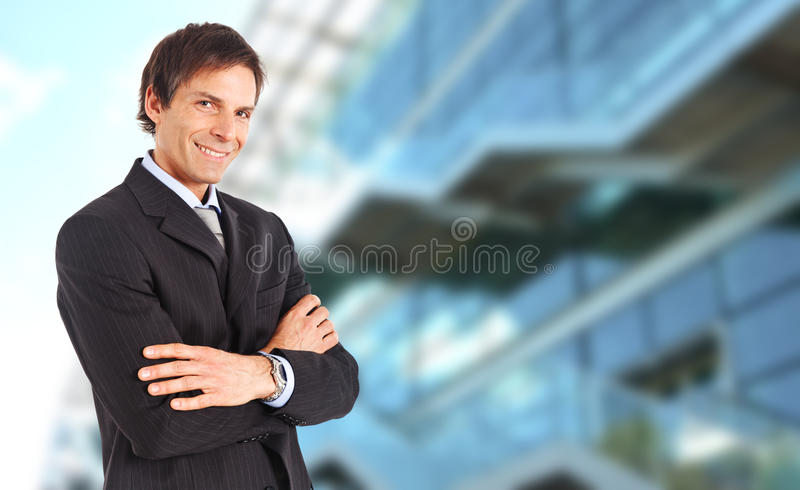Mature businessman smiling royalty free stock photo