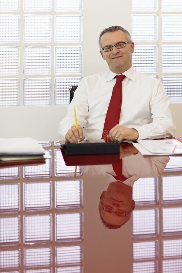 Mature businessman smiling at camera stock image