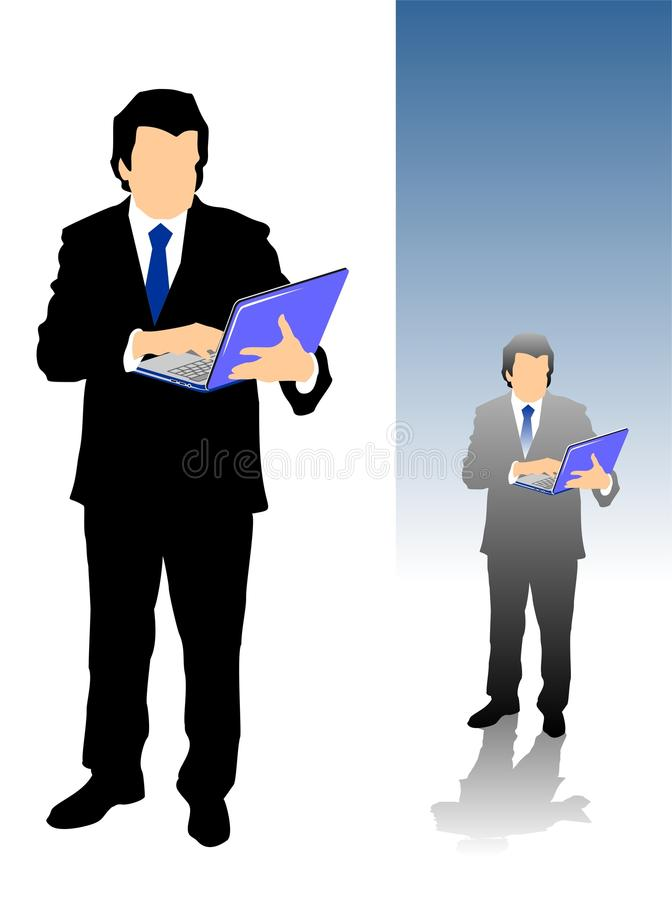 Mature Businessman using laptop computer vector illustration