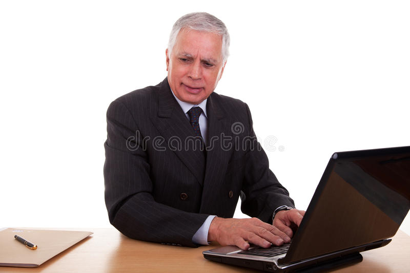 Download Mature Businessman  Working At Computer Stock Photo - Image: 15162300