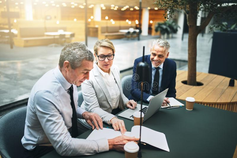 Mature businesspeople working in the lobby of an office building royalty free stock image