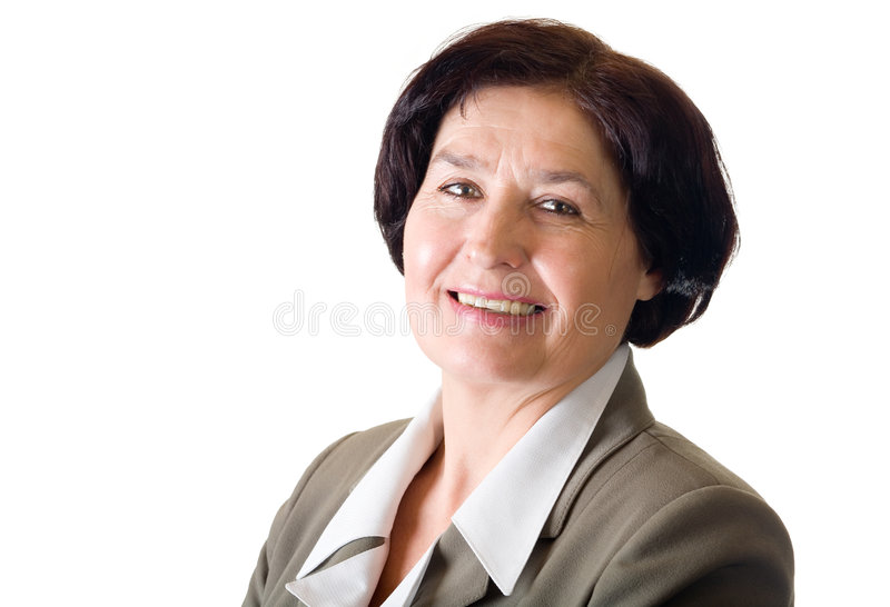 Mature Businesswoman, Isolated Stock Image