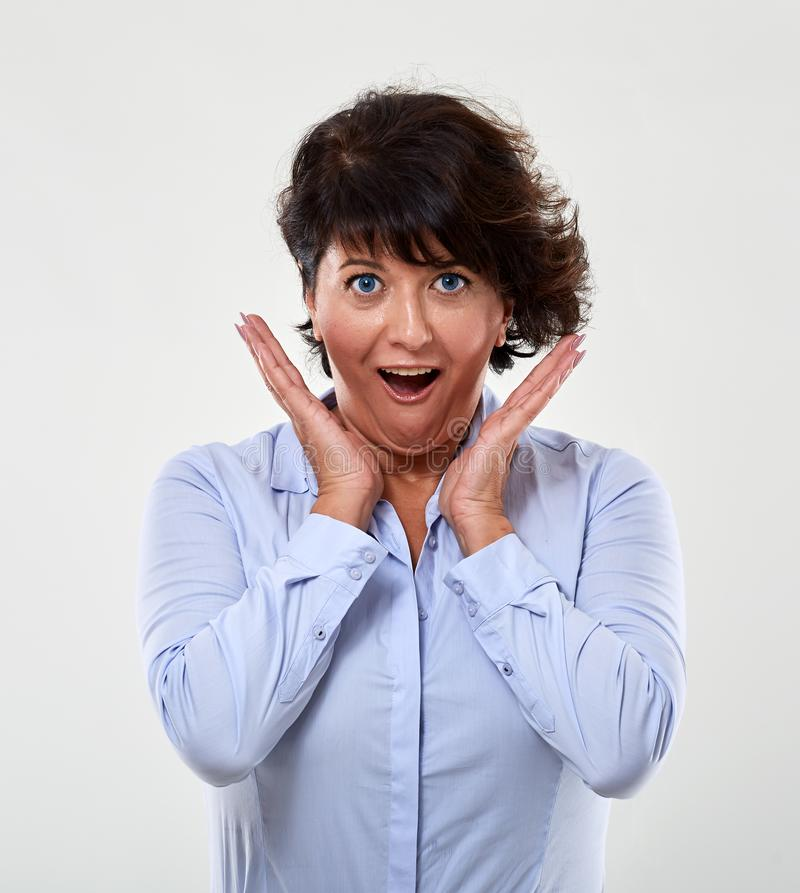 Pleasantly surprised businesswoman royalty free stock photos