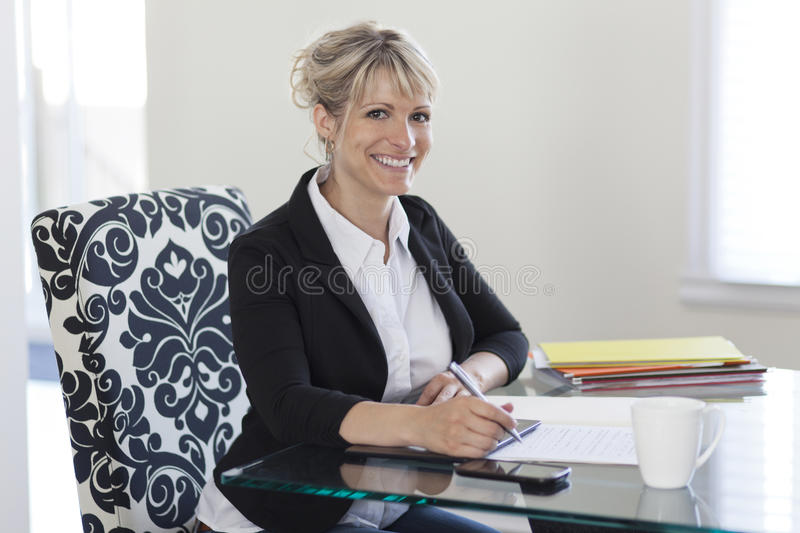Mature Businesswoman Working At Home royalty free stock image