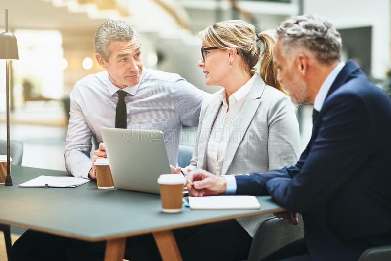 Mature corporate collegues working together in an office lobby royalty free stock photos