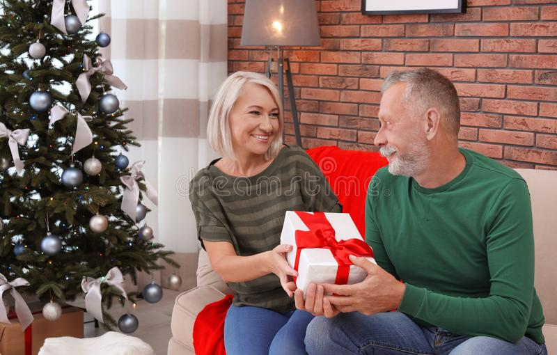Mature couple with Christmas gift box. At home royalty free stock image