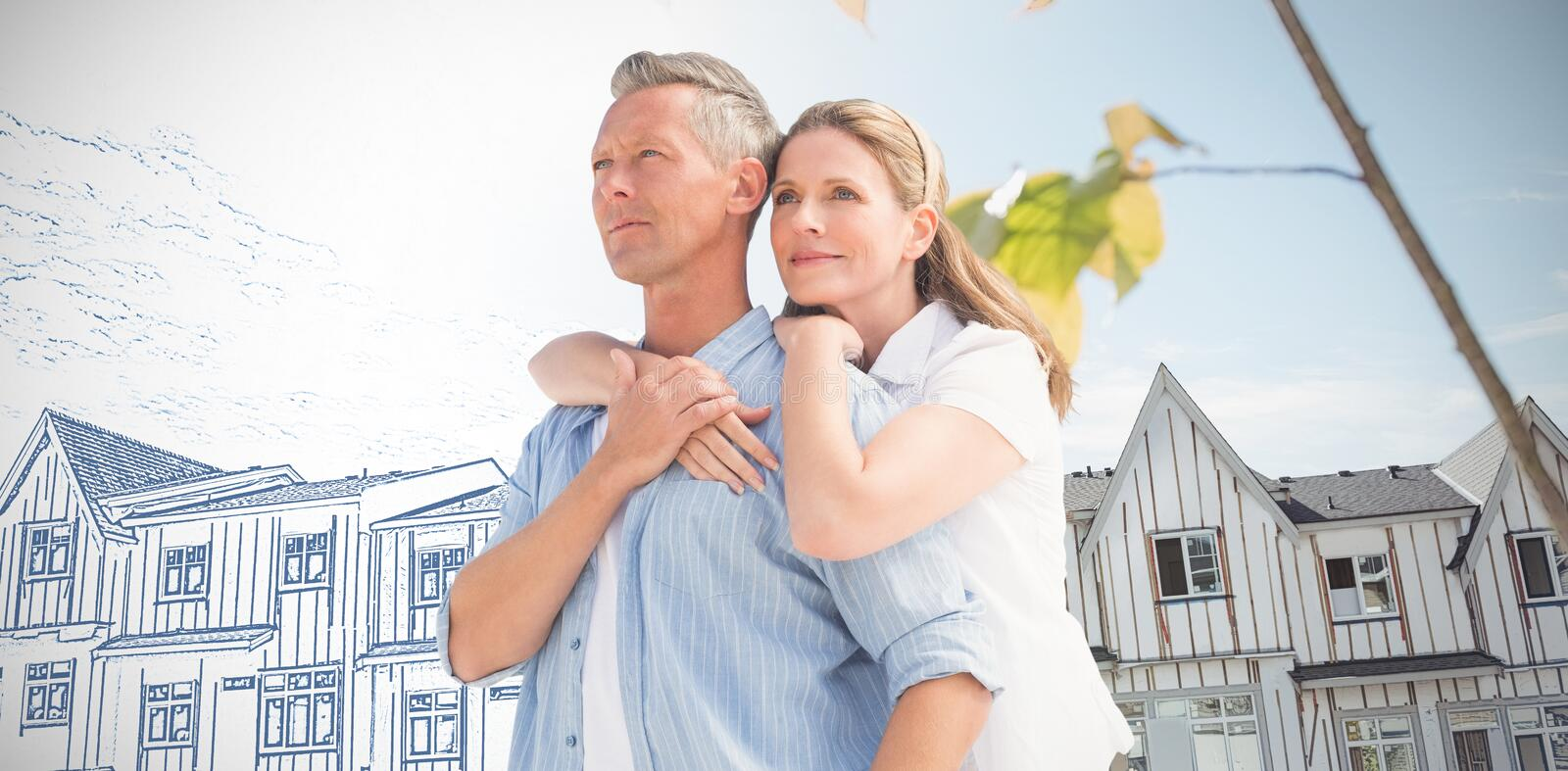 Composite image of mature couple embracing royalty free stock photography
