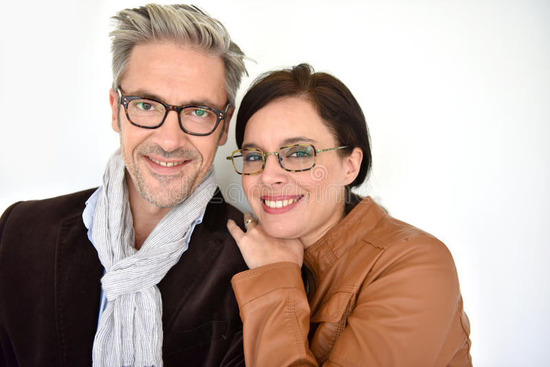 Mature couple with eyeglasses stock images