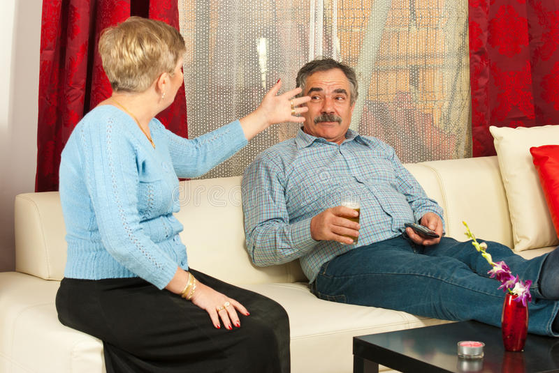 Mature couple having conflict stock image