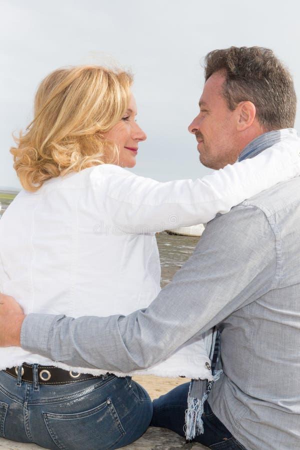 mature Couple in love having romantic tender moments stock photo