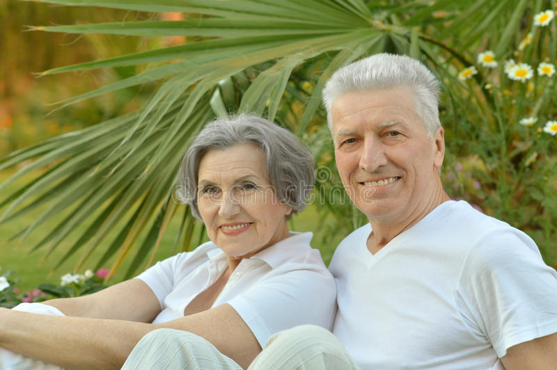 Mature couple in love. Travel, enjoy summer, posing outdoors stock image