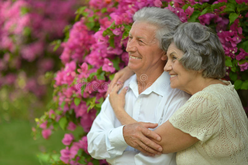 Mature couple in love. Travel, enjoy summer, posing outdoors stock photo
