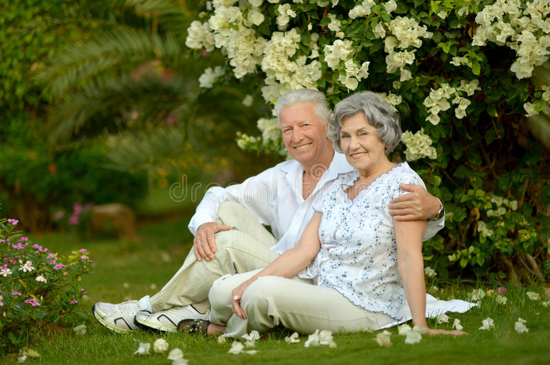 Mature couple in love. Travel, enjoy summer, posing outdoors stock images