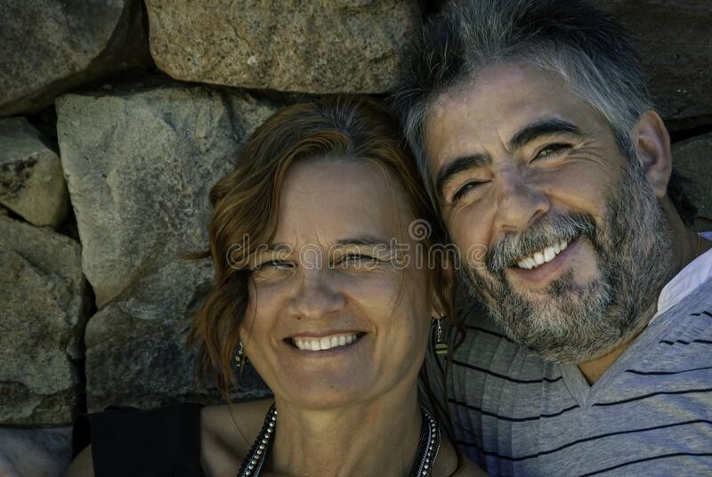 Mature couple of man and woman in love stock image