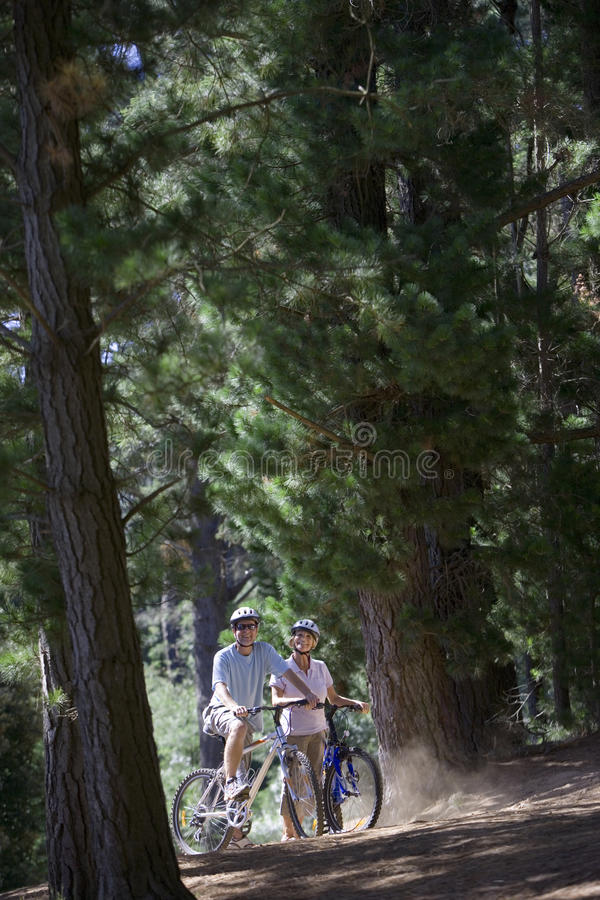 Mature couple, in mid-distance, mountain biking along woodland trail, smiling, side view, portrait royalty free stock images