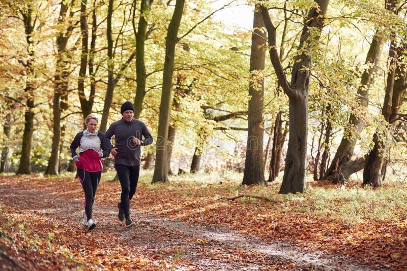 Mature Couple Running Through Autumn Woodland Together stock photo