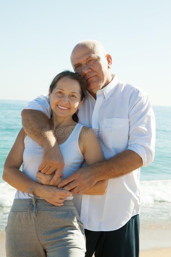 Mature couple at sea vacation royalty free stock images