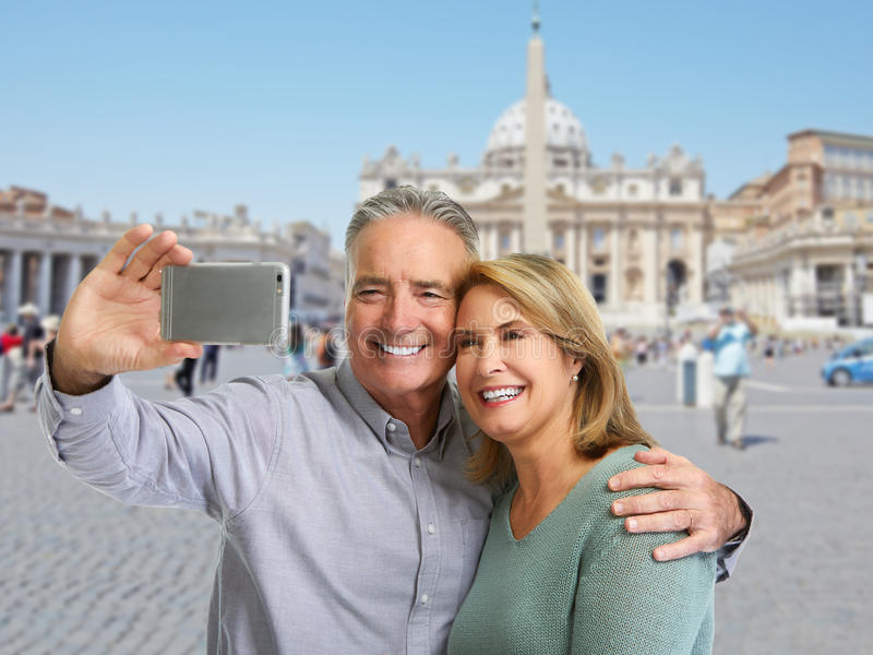 Mature couple selfie. royalty free stock photo