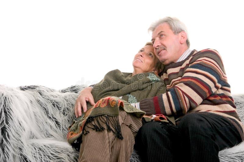 Mature couple smiling stock photos