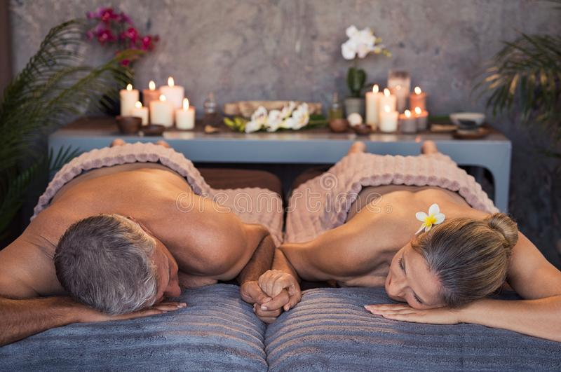 Mature couple at spa royalty free stock images