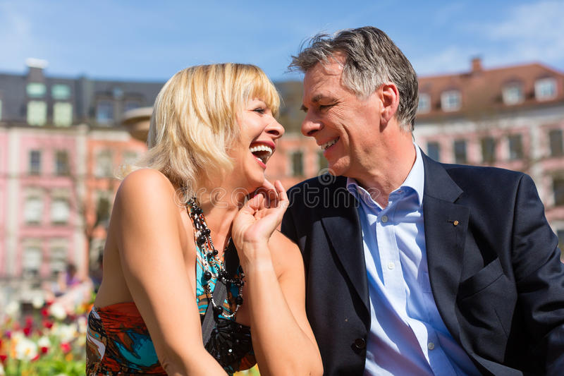 Mature Couple During Spring In The City Royalty Free Stock Photo