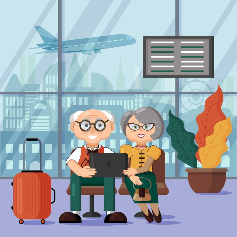 Mature couple waiting for their flight at the airport. Outside the window, the plane takes off stock illustration