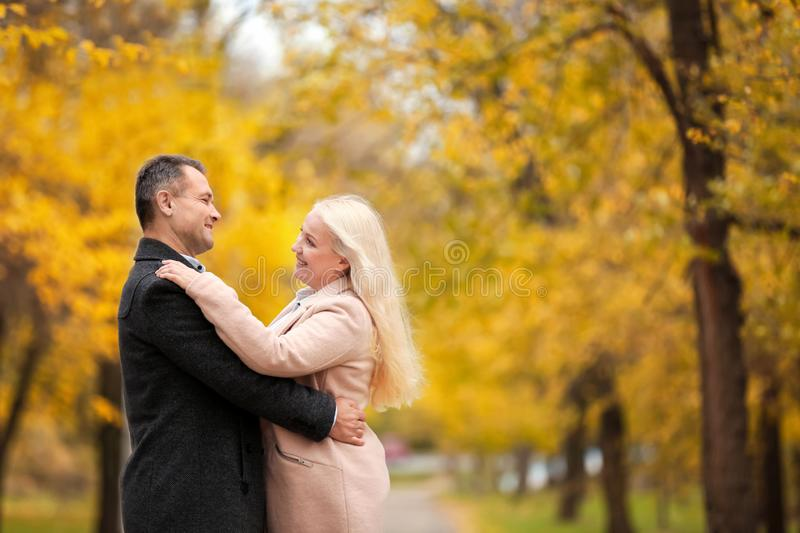 Mature couple walking in park royalty free stock photos