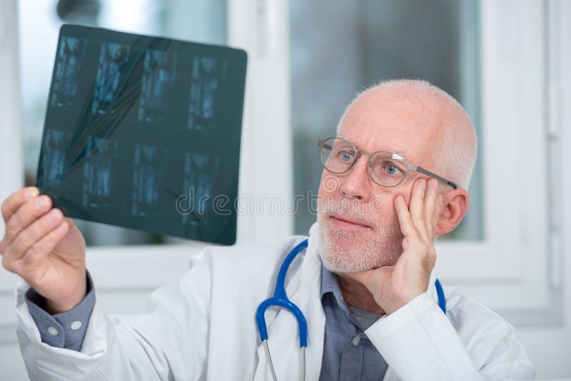 Mature Doctor looking at an x-ray in an office. A mature Doctor looking at an x-ray in an office royalty free stock images